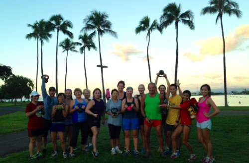 "A great group meets for a ""fun"" workout at Ala Moana Beach Park. Everyone is welcome."