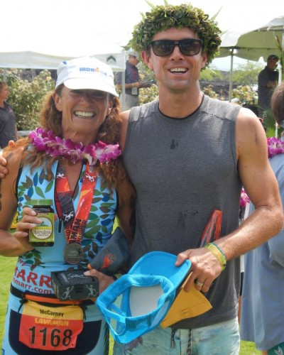 Hawaii's incredible pro triathlete, Tim Marr won Lavaman overall.  I was happy to win my age group, but I was more than an hour slower than Tim.  Wow!