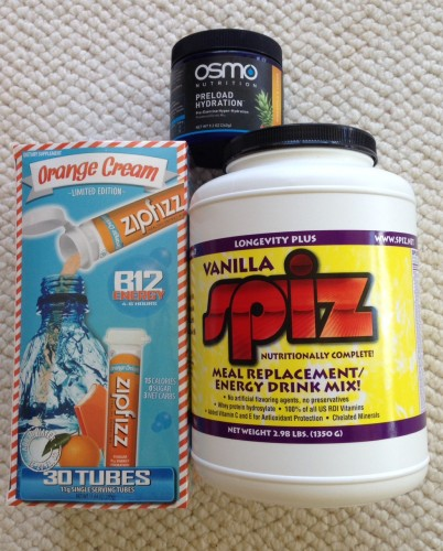 I depend on these three products for good hydration and nutrition.  But, not on this day!