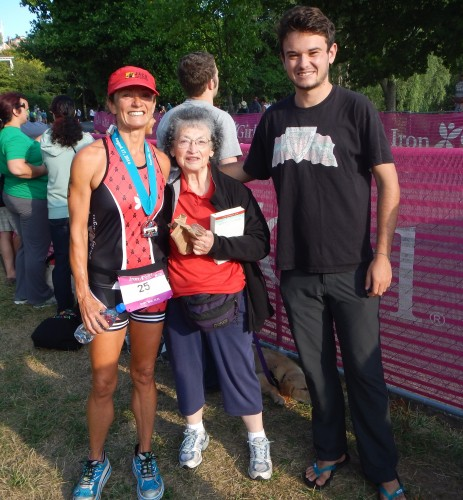 It was great that my son Geoff and my mom were willing to wake up at 4am to come to the race!