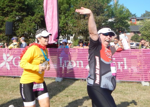 My sister, Stephanie was elated as KC ran her into the finishing chute.