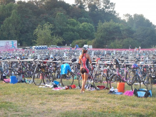 Usually, there are no bikes left when I get to T1 in a race.  This time, I had to look for my bike!