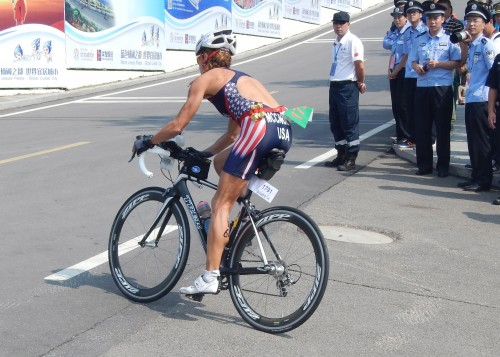 Right out of transition and up a steep hill. Even most pros put their bike shoes on before leaving transition.