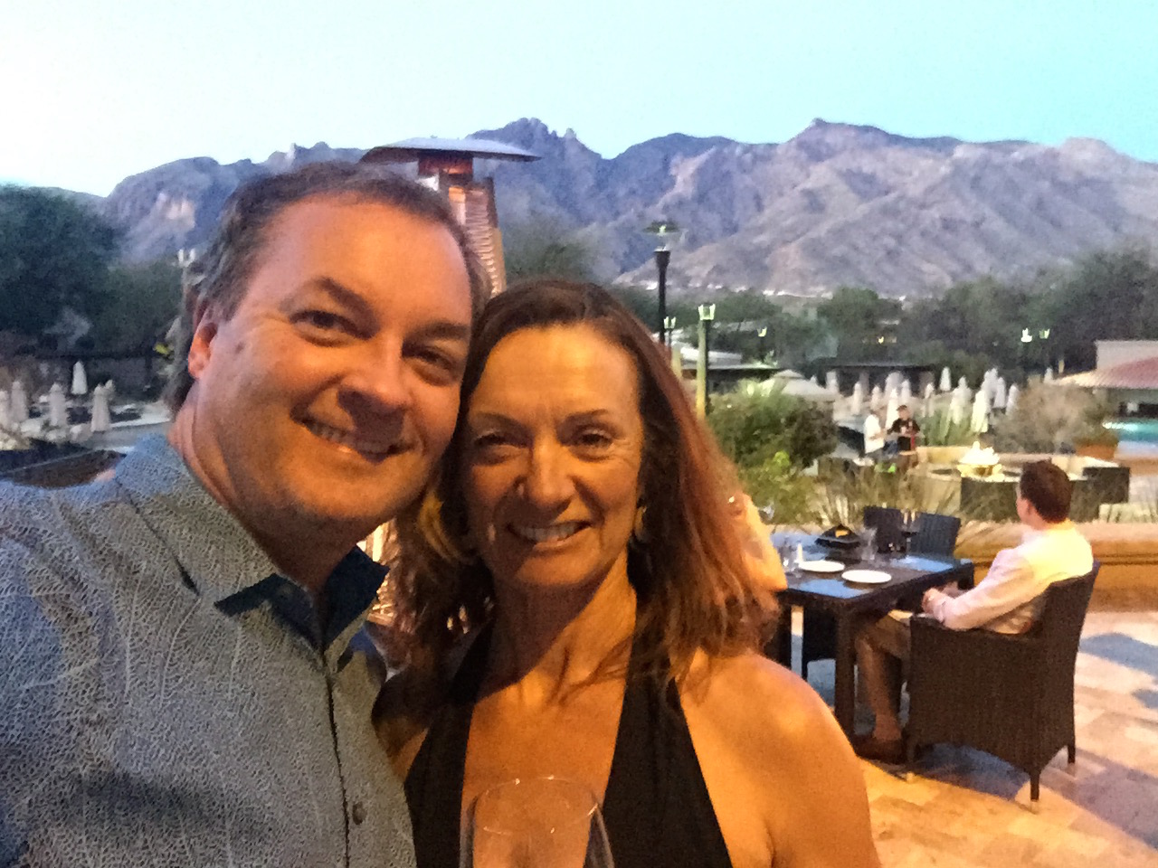 After a beautiful morning, Rick and I went to the Westin for diner on the terrace with views of the Santa Catalina Mountains.