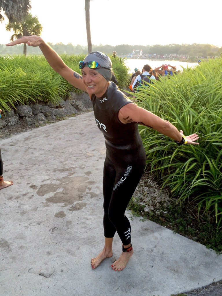 Goofing around before the swim start.
